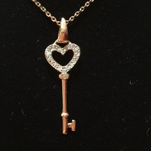 "Jewelry - 14 Kt BNWT diamond key on a 18"" 14kt chain"
